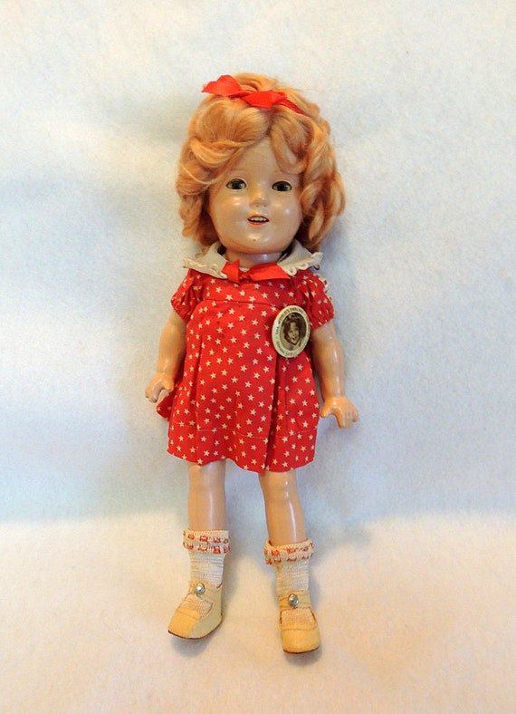 "Vintage 1930s SHIRLEY TEMPLE Doll 13"" W Original NRA Tag, Dress & Pin Ideal Composition"
