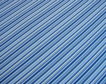 Blue stripe cotton fabric, quilting cotton in blue, stripy print in blue