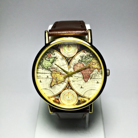 World map watch women watches mens watch leather watch world map watch women watches mens watch leather watch boyfriend watch world map vintage style gold silver rose gift ideas gumiabroncs Image collections