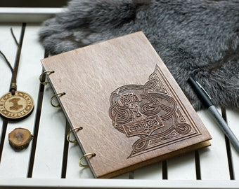 Wooden notebook with Mjolnir | Thor Hammer