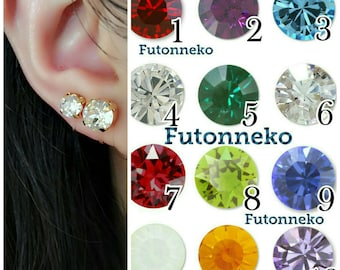 Birthstone 6mm/8mm Swarovski crystal Invisible clip on earrings ,Gold or Silver,Clip On Earrings,Clip-ons,gift for women