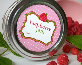RED Raspberry Jam canning jar labels, round canning labels for fruit preservation, raspberry jam jar labels for regular & wide mouth jars