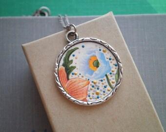 Bohemian Floral Charm Necklace - Blue Flower Vintage Card Paper Ephemera Enamel Dot Art Pendant, Boho Flower Garden Pointillism Jewelry Gift