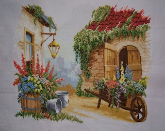 New Finished Completed Cross Stitch - Gardening wooden car - L95