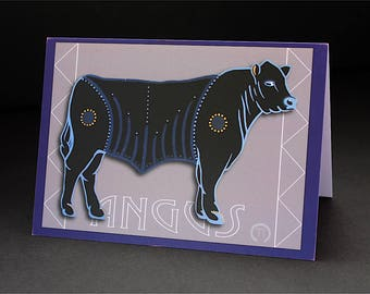 "Black Angus 4.25"" x 6"" Blank Greeting Card"