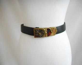 Vintage Inspired Brass Buckle Belt, Vintage Look Brass Belt Buckle, Unusual Brass Belt Buckle