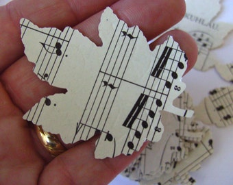 100 ,LEAFS, Leaves, Autumn, Fall, LARGE, 5cm, leafs,  music sheets, sheet music, Wedding, by DoodleDee2 on etsy