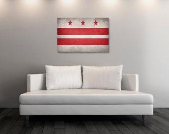 Vintage Washington DC Canvas Print, Washington DC Flag,  Washington DC Flag Art, Wall Art, Wall Decor, State Poster, Decor [PP049-C]