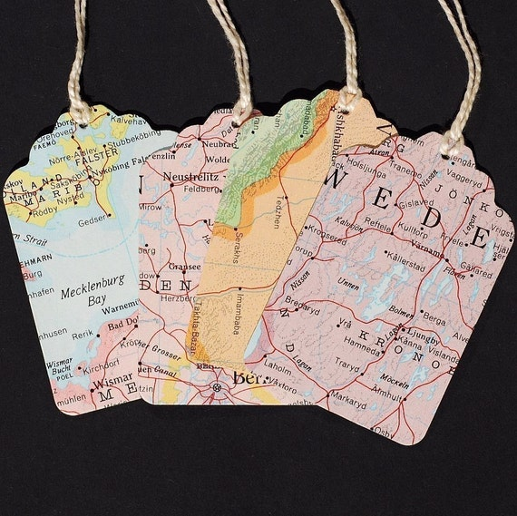 Map gift tags with string 15 recycled vintage world atlas map gumiabroncs Image collections