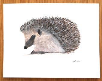 Hedgehog watercolour painting, original watercolour painting, hedgehog artwork, nursery art, original art, hedgehog painting, one of a kind