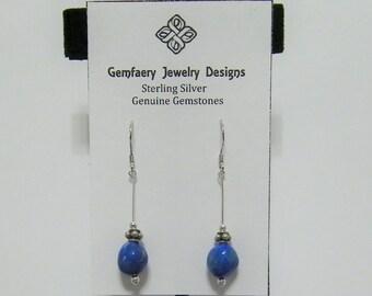 Sterling Silver Natural USA Lapis Gemstone Long Dangle Earrings...Handmade USA