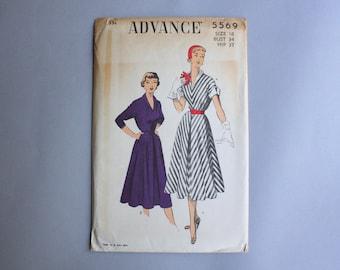 1950s Sewing Pattern / Vintage 50s Dress Pattern / Uncut Factory Fold Advance Pattern 5569 size 16 waist 28