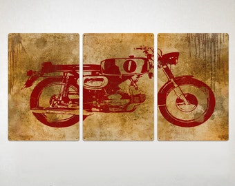 """Vintage Motorcycle METAL triptych 48x24""""  FREE SHIPPING"""