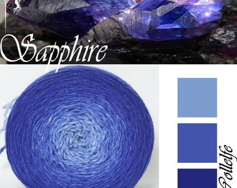 Sapphire* Merino silk Gradient Yarn hand dyed - Lace weight