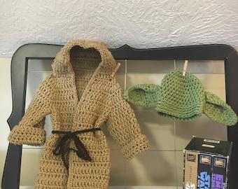 0-3 month Star Wars Yoda hat and robe, newborn Yoda Halloween costume