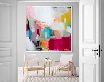 Large wall art giclee print, white pink geometric abstract painting, large abstract painting print, giclee wall art