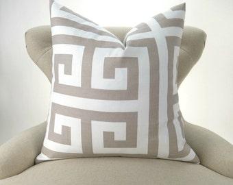 Ecru Pillow Cover -MANY SIZES- Neutral Throw Pillow, Euro Sham, Cushion, Taupe White Decor, Greek Key Pattern, Zeus Ecru Premier Prints