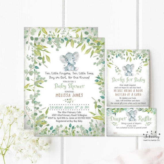 Gender neutral baby shower invitations little peanut greenery like this item filmwisefo Images