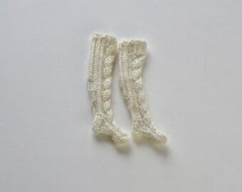 White wool knee socks, Hand knitted 12 inch doll socks, Warm winter socks