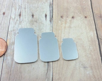 Mason Jar Blanks, mason jar blank, aluminum jar blank, stampable jar blank, aluminum Stamping blanks, hand stamping supplies, aluminum, QTY5