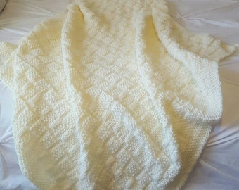 Yellow Baby Blanket - Basket Weave- Knit