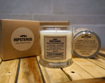 Hipsterus - Buy 1 Get 1 Free - Scented 8oz Soy Candle - Fresh Citrus Fragrances - A Night To Remember