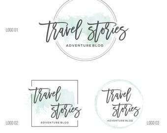 Watercolor Logo, Premade logo Branding Package, Travel Logo circle logo, Wedding logo, Blog logo, business Photography logo and watermark 51
