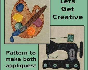 Let's Get Creative Applique Templates - Painting Applique Pattern - Sewing Machine Applique Template - Applique Template, PDF Pattern, DIY