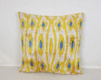 20x20inch velvet pillow, Ikat velvet pillow, Decorative Pillow, Handmade Silk Pillow, Square ikat pillow, Silk cushion cover,