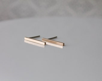 Gold Filled Bar Earrings - Rose Gold Filled Bar Earrings - Gold and Sterling Silver Studs Post - Bar Earrings