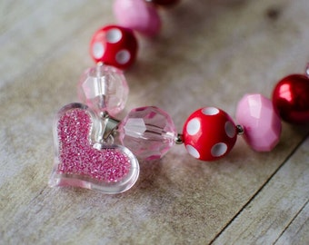 CLEARANCE Valentine's Day chunky bubble gum necklace heart red pink white