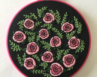 Floral field hand-embroidery hoop