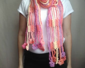 Rainbow Lace Crochet Boho Scarf Flower Scarf Crochet Lariat Necklace Gift For Her Girlfriend Wife Mother Spring-Autumn Scarf all Seasons