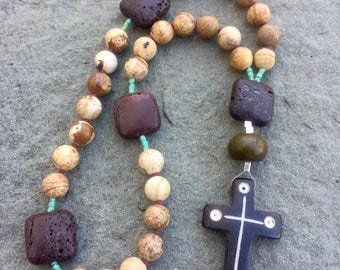 Anglican Rosary/ Protestant Rosary- Jasper, brown lava and turquoise prayer beads with hand-carved pendant