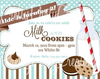 Blue MILK and COOKIES invitation - U PRINT