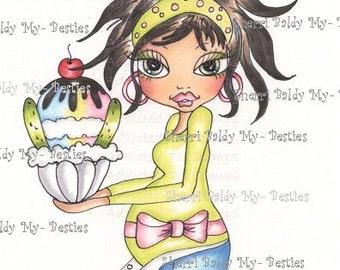 INSTANT DOWMLOAD Digital Digi Stamps Big Eye Big Head Dolls Digi Piclkes  Expecting  Sherri Baldy