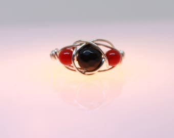 Black Onyx, Red Coral and Sterling Silver Ring