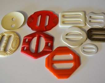 Antique Belt Buckles Bakelite Cellouid Plastic