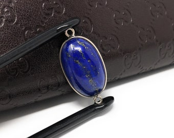 Lapis Lazuli, Gemstone Connector, Lapis Lazuli Connector, Bezel Connector, Jewelry Supplies, Jewelry Making, Jewelry Findings, 28.5x14x6.5mm