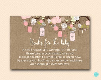 Pink Mason Jar Books for the Baby, Books for the Baby Insert, Books for the Baby, Bring a book instead of card, Books for Baby Shower TLC459