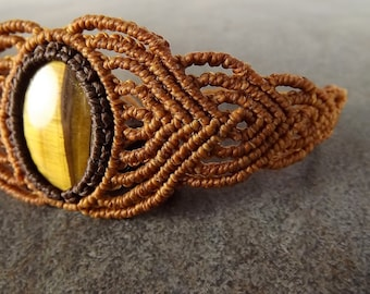 Macrame Bracelet, Tiger Eye Gemstone, With Brown Thread