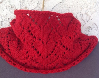 "Red ""Be My Valentine"" Handknit Cowl"