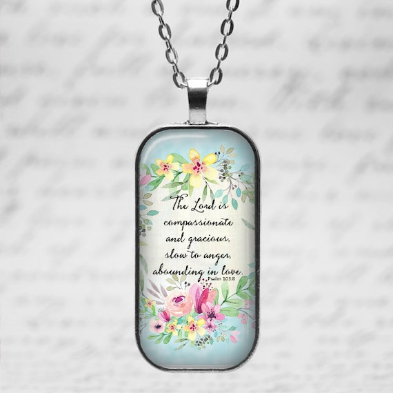 PSALM 103:8 Bible Verse Pendant with chain - 18 or 24 inches - GIFT BOX included