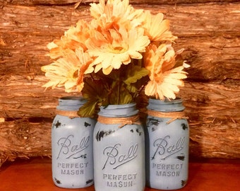 Rustic Blue Mason Jars, Vintage Ball Mason Jars, Rustic Mason Jar Centerpiece, Mason Jar Decor, Farmhouse Decor,  Painted Mason Jars