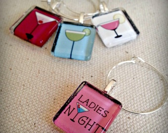 Glass Wine Charm Party Favor Tags - Ladies Night Out - Cherry Pink Martini, Green Margarita, Blue Cocktail, Pink Daiquiri