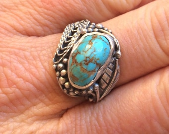 Turquoise and Filigree Sterling Silver Ring
