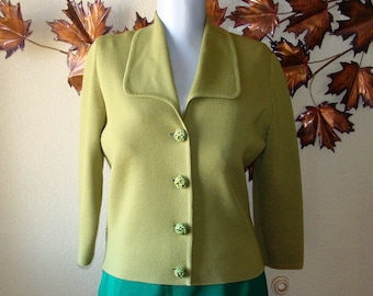 Romalma Olive Green Vintage Mid Century Cardigan Decorative Button Front Sweater Knit 3/4 Sleeve Large Collar 6