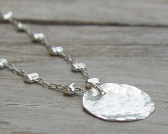 Hammered Silver Disc Necklace, Sterling Silver Necklace, Silver Disc Necklace, Simple Silver Necklace, Delicate Silver Necklace