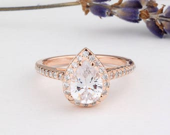 Rose Gold Pear Shaped Ring / Pear CZ Halo Ring Half Eternity Wedding Engagement Anniversary Sterling Silver Women Ring / Bridesmaid Jewelry