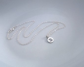Small Om necklace in sterling silver; silver ohm necklace; om necklace sterling silver; small round pendant necklace